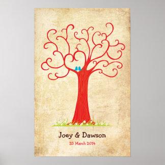Fingerabdruck-Baum, der Heartastic (rotes, Wedding Poster