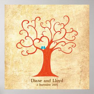 Fingerabdruck-Baum-Hochzeit (Heartastic) Poster