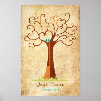 Fingerabdruck-Baum-Hochzeit - Heartastic (Vintag) Poster