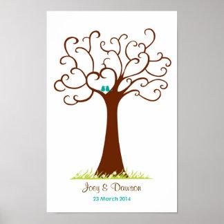Fingerabdruck-Baum-Hochzeit - Heartastic (weiß) Poster