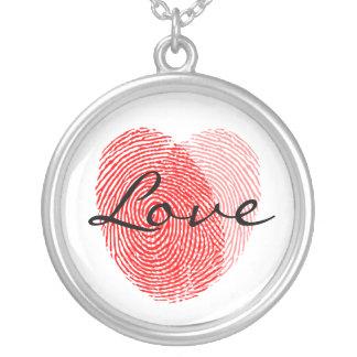 Fingerabdruck-Liebe-Quadrat-Andenken-Charme Halskette Mit Rundem Anhänger
