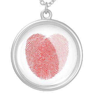 Fingerabdruck-quadratischer Andenken-Charme Halskette Mit Rundem Anhänger