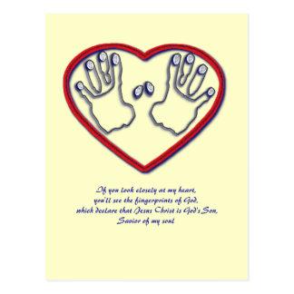 Fingerabdrücke des Gottes - 1 Peter-5:6 - 7 Postkarte