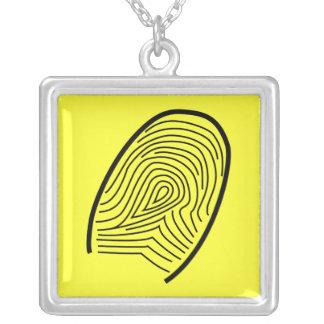 Fingerabdruckhalskette Halskette Mit Quadratischem Anhänger