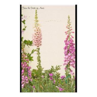 Fingerhut-Blumen-personalisiertes Briefpapier