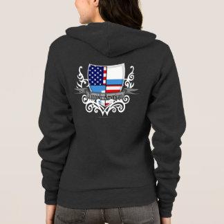 Finnisch-Amerikanische Schild-Flagge Hoodie