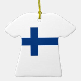 Finnische Flagge auf Keramik-T-Shirt Anhänger Weihnachtsbaum Ornament