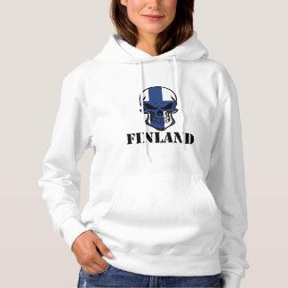 Finnischer Flaggen-Schädel Finnland Hoodie