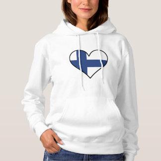 Finnisches Flaggen-Herz Hoodie