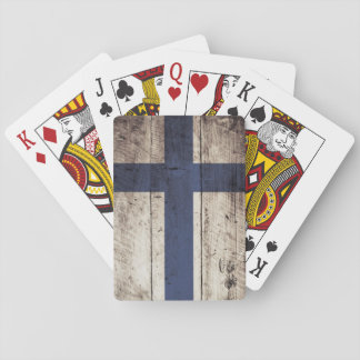 Finnland-Flagge auf altem hölzernem Korn Spielkarten