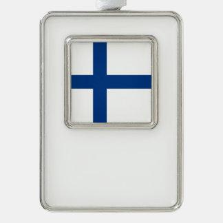 Finnland-Flagge Rahmen-Ornament Silber