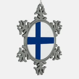 Finnland-Flagge Schneeflocken Zinn-Ornament