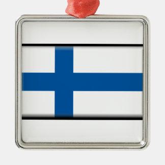 Finnland-Flagge Silbernes Ornament