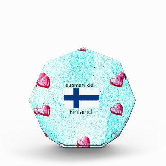 Finnland-Flagge und finnischer Sprachentwurf Auszeichnung