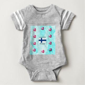 Finnland-Flagge und finnischer Sprachentwurf Baby Strampler