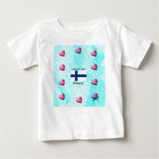 Finnland-Flagge und finnischer Sprachentwurf Baby T-shirt