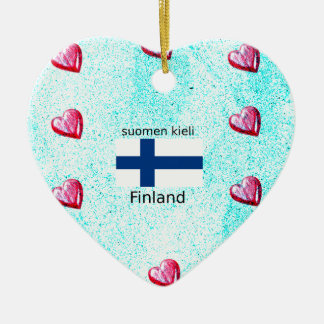 Finnland-Flagge und finnischer Sprachentwurf Keramik Ornament