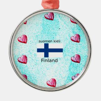 Finnland-Flagge und finnischer Sprachentwurf Silbernes Ornament