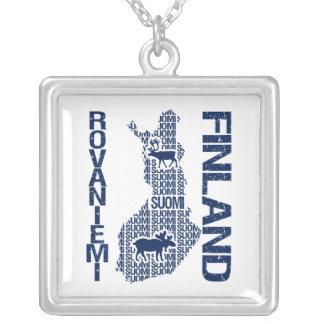 FINNLAND-KARTEN-Halskette - Rovaniemi Versilberte Kette