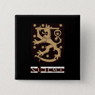 Finnland-Löwe Quadratischer Button 5,1 Cm