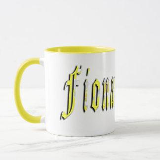 Fiona, Name, Logo, gelbe kombinierte Kaffeetasse