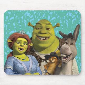 Fiona, Shrek, Mietze in den Stiefeln und Esel Mauspads