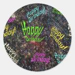 Firecrackin alles- Gute zum Geburtstagaufkleber Runder Sticker