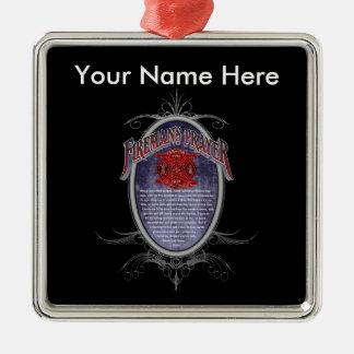 Firemans Prayer_ Quadratisches Silberfarbenes Ornament