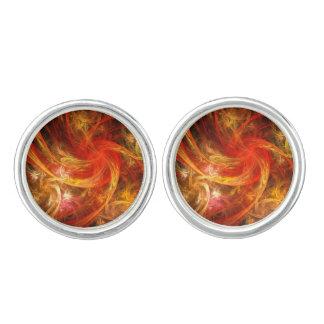 Firestorm-Nova-abstraktes Kunst-Silber überzogen Manschetten Knöpfe