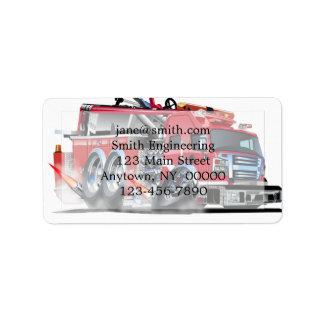 Firetruck Burnout Adressaufkleber