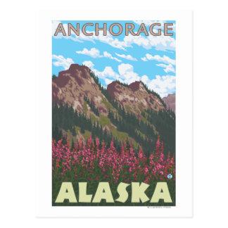 Fireweed u. Berge - Anchorage, Alaska Postkarte