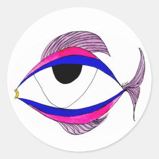 Fisch-Augen-Aufkleber Runder Aufkleber