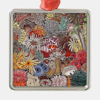 Fisch Clown und Anemonen Silbernes Ornament