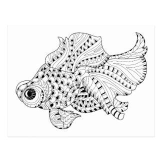 Fisch-Gekritzel Postkarte