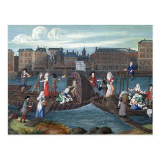 Fisch-Geschäft und Wäscherei-Boot beim Quai Postkarte