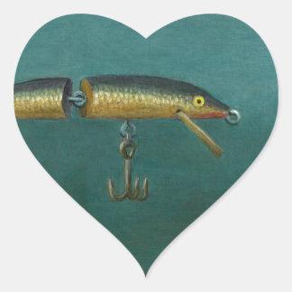 Fisch-Köder Herz-Aufkleber