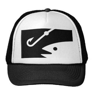 Fisch-Kopf und Haken - Schwarzweiss Retrokultmütze