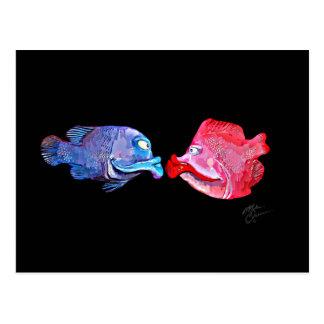 """""""Fisch-"""" Kunst durch Mike Quinn küssend Postkarte"""