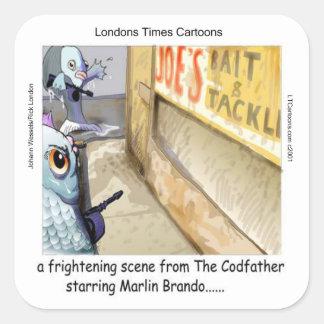 Fisch-Mafia-lustige Geschenke Rick London Quadratischer Aufkleber