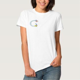 Fisch-Monogramm gesticktes Shirt des Buchstabe-C