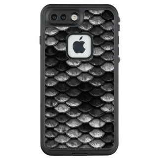 Fisch-Skala-Muster-graue u. schwarze Schatten LifeProof FRÄ' iPhone 8 Plus/7 Plus Hülle