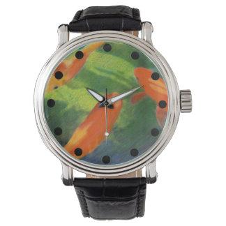 Fisch-Teich-farbiger Bleistift, der Uhr zeichnet Armbanduhr