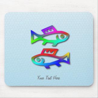 Fisch-Tierkreis-Stern-Zeichen-Regenbogen-Fische Mauspads