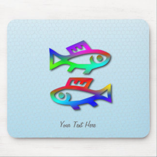 Fisch-Tierkreis-Stern-Zeichen-Regenbogen-Fische Mauspad