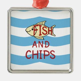 Fisch und 2 quadratisches silberfarbenes ornament