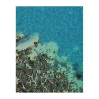 Fische, die über das Riff sich bewegen Holzleinwand