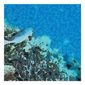 Fische, die über das Riff sich bewegen Poster