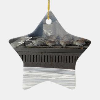 Fische draußen grillen keramik ornament