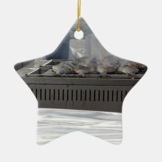Fische draußen grillen keramik Stern-Ornament