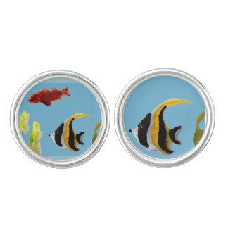Fische in der Seekunst Manschetten Knöpfe